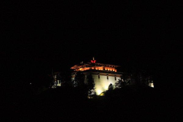 the night view of Simthokha Dzong Thimphu